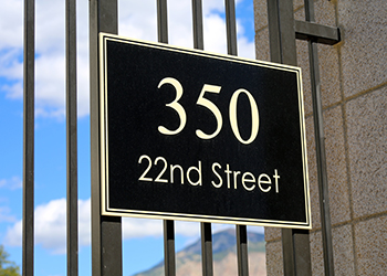 Exterior address signs in Tampa, FL