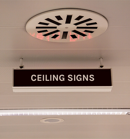 Ceiling graphics and signs examples in Tampa, FL