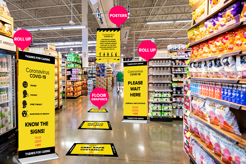 Social distancing signs and banners for Stores in Tampa, FL