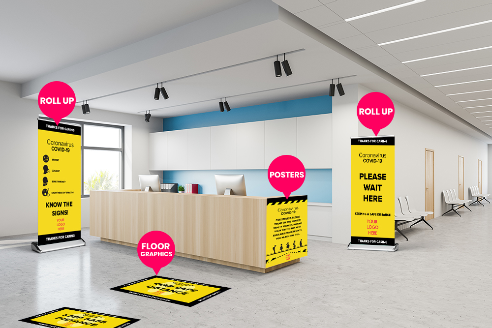 Hospital safety signs, floor decals, and banners