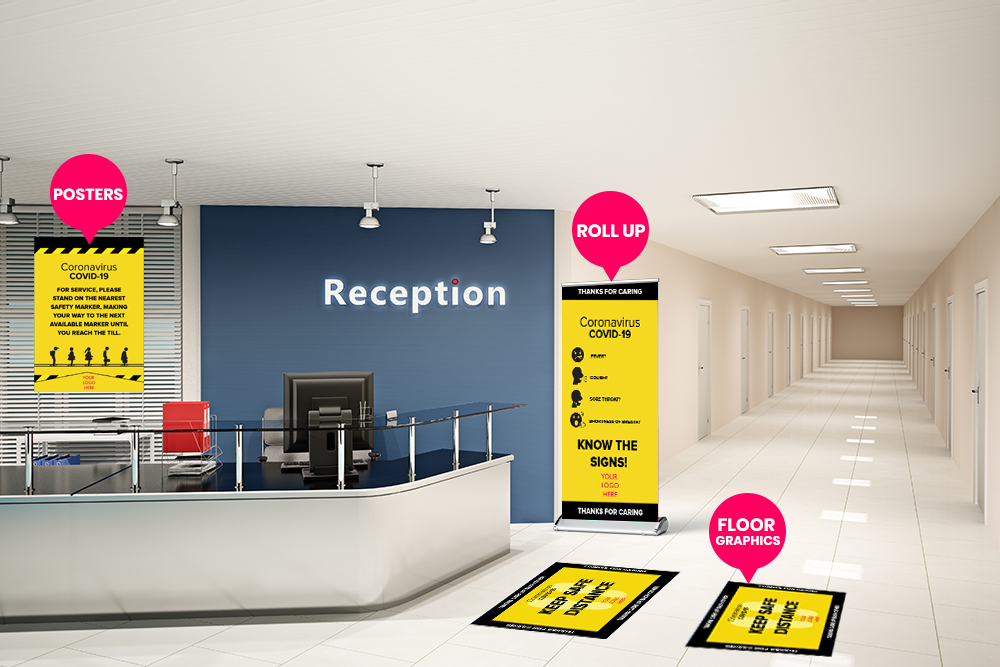 COVID-19 safety signs and decals for office reception area