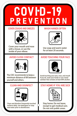 COVID-19 prevention safety signs