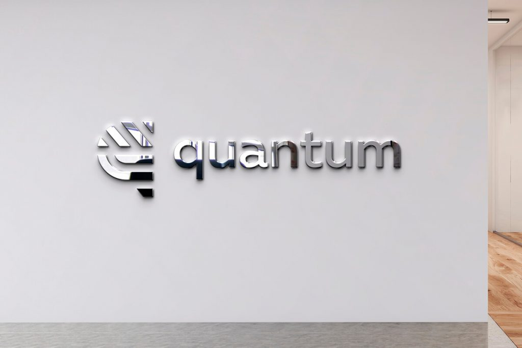 Metal office lobby signs with logo for Quantum in Tampa, FL